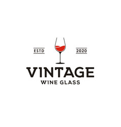 wine glass vintage retro bar logo vector image