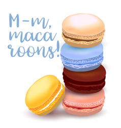 With different flavors of macaroons vector