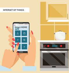 woman hands holding smartphone with smart home app vector image