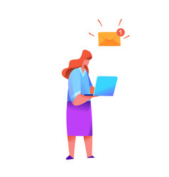 woman with laptop with new message inbox vector image