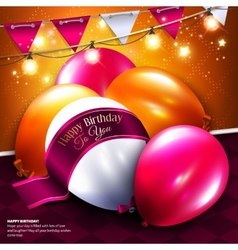 birthday card with balloon bunting flags vector image