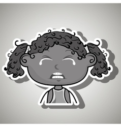 crying cartoon little afro girl on white vector image