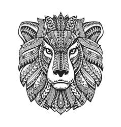 Head lion Ethnic patterns Hand drawn vector image