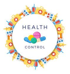 pills drugs pharmacy medicine round banner vector image vector image