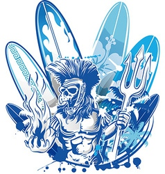 poseidon death surfer on surfboard background vector image vector image