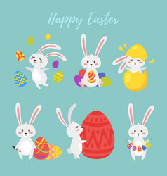 set of easter bunny vector image vector image