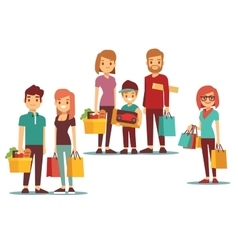 Woman and man going shopping with bags vector image vector image