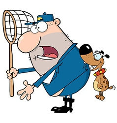 Angry Dog Biting A Dog Catcher vector image vector image