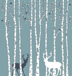 Birch trees with deers vector