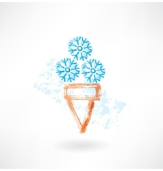 Cold ice-cream grunge icon vector image