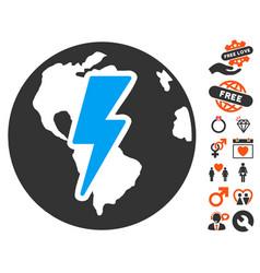 earth shock icon with love bonus vector image