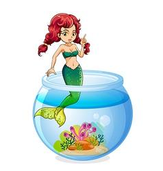 A mermaid inside the aquarium vector image vector image