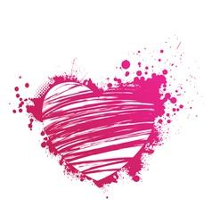 pink heart grunge vector image