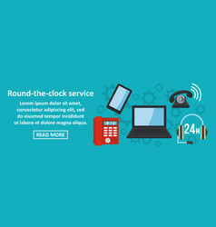 round the clock service banner horizontal concept vector image