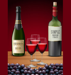 three wineglass and champagne bottles vector image