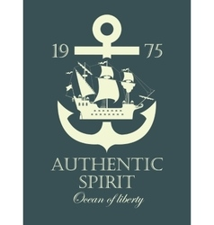 anchor and a pirate sailing ship vector image