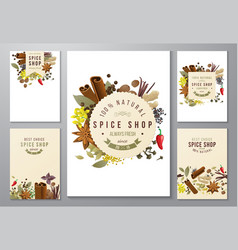 backgrounds with paper emblems and spices vector image vector image