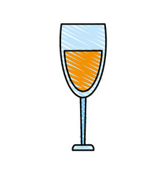 Color crayon stripe cartoon glass cup with wine vector