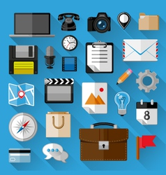 Flat icons bundle vector image