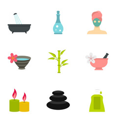 massage and spa icons set flat style vector image