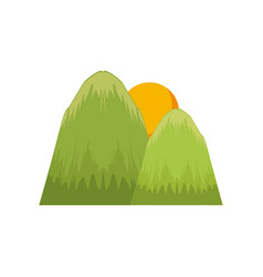 mountains and sun nature landscape vector image vector image