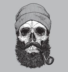 sailor sea captain hipster skull with pipe vector image vector image