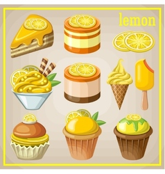 Set of sweets with lemon vector image vector image