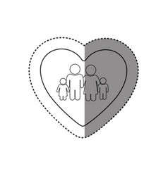 sticker of monochrome silhouette of heart and vector image vector image