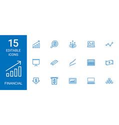 15 financial icons vector