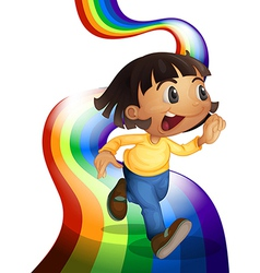A rainbow with a child playing vector