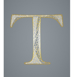 Abstract golden letter T vector