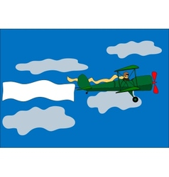 airplane banner biplane vector image