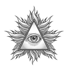 All seeing eye pyramid symbol in engraving vector