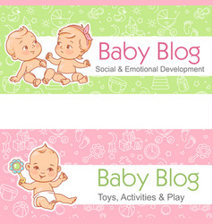 banner for blog babies talk little child play vector image