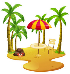 beach scene with dining table and trees vector image