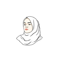 beautiful moslem girl white hijab line art logo vector image