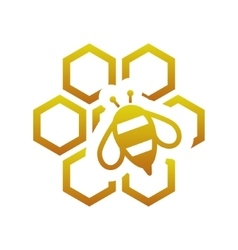 Bee with comb vector