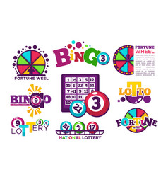 Bingo lotto or national lottery logo templates set vector
