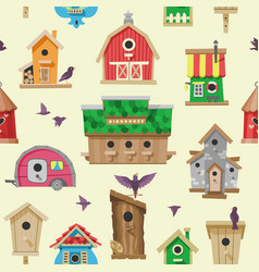 birdhouse cartoon birdbox and birdie wooden vector image
