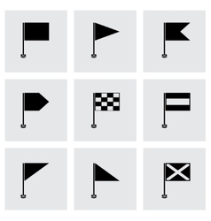 black flags icons set vector image