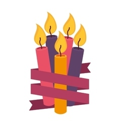 candles birthday with ribbon vector image