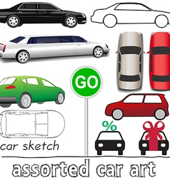 Car symbols auto transportation set vector image
