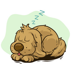 Cartoon cute sleeping dog showing tongue vector