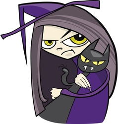 cartoon of funny witch with black cat vector image