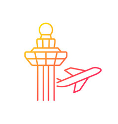 Changi airport control tower gradient linear icon vector