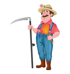 Cheerful farmer holding scythe vector