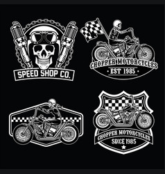 Chopper set black white vector