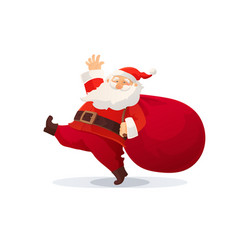 Christmas funny cartoon santa vector