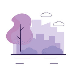 city street trees cityscape background vector image
