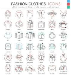 clothes shoes color line outline icons vector image